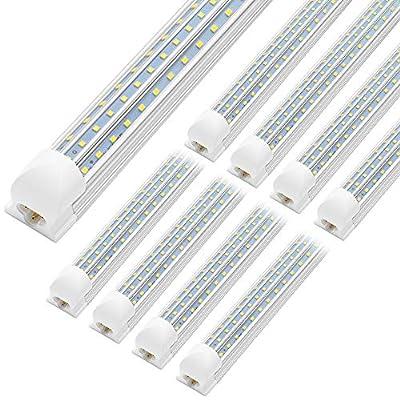 JESLED 4FT LED Shop Light, 45W Linkable 4 Foot LED Lights Fixture, 5400lm, 5000K Daylight, Triple Row D Shape LED Tube Light, High Output Shop Lights for Garage Warehouse Workshop Basement (10-Pack)