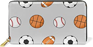 Fútbol Soccer Baloncesto Béisbol Monedero Cremallera Billetera de Cuero Real Patrón Impresión Bolso para Niño Mujeres Teléfono Chica Hombre