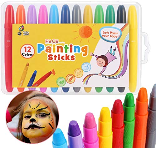 PONLCY Easy Washable Face Paint Crayons, 12 Colors Twistable Face Painting Sticks, Super Smooth Face & Body Painting Kit for Kids Christmas Birthday Festival Party Cosplay Makeup Marker