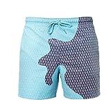 Yolmook Short De Bain Homme Magical Change Color Quicksilver Grande Taille Shorts de Température Changeants de Couleur Drôle pour Hommes Maillots de Bain Hommes Shorts de Plage