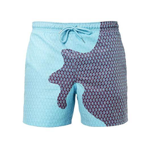 DAY8 Maillot De Bain Short Plage Homme Qui Change De Couleur Pantalon Court Homme Été Grande Taille Pantalons Décoloration Taille Élastique avec (X-Large, Bleu1)