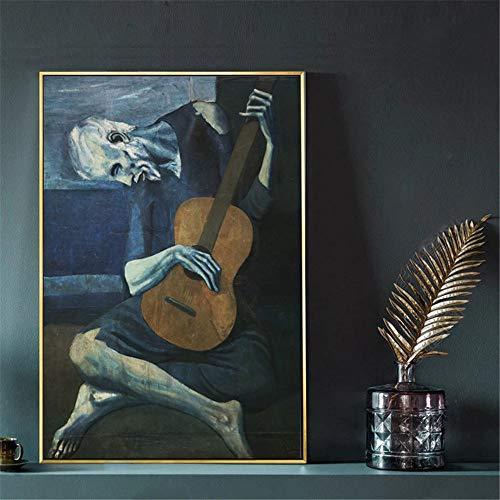 De oude gitarist van Pablo Picasso muurkunst canvas schilderij poster voor wooncultuur posters en afdrukken decoratieve afbeeldingen 70x93cm