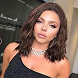 Short Highlights Wavy Wig for Women Mixed Brown Synthetic Curly Wavy Wig Shoulder Length Middle Parting Wig Natural Looking Wigs for Daily Party Use