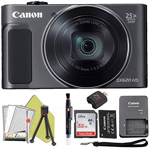 Canon PowerShot SX620 Digital Video Camera Content Creator Kit w/ 25x Optical Zoom, Wi-Fi & NFC Enabled, 32Gb Sandisk Memory Card and ZeeTech Bundle (Black)