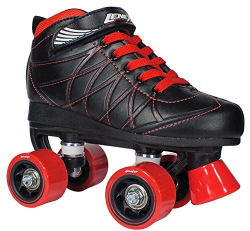 Lenexa Hoopla Youth Girls Roller Skates for Kids Children - Girls and Boys - Kids Rollerskates - Childrens Quad Derby Roller Skate for Youths Boy/Girl - Kids Skates (Black w/Red Wheels Size 6)