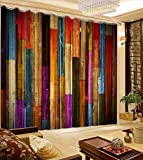 3D Printed Blackout Curtainsdigital Printing Design Distinctive Vertical Curtains, Colorful Wood Wall Printing Simple Stylish Eyelet Curtains Breathable Insulation,For Living Room Bedroom Kid Room Ca