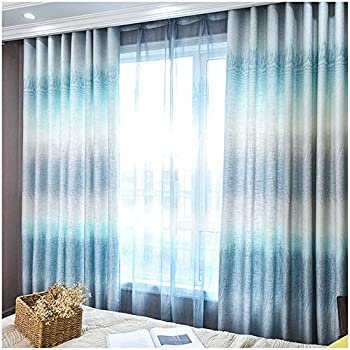 STACYPIK Linen Blue Curtains for Living Room 63 Inch Long -Western Elegant White Ombre Grommet Top Noise Absoring Sun Blocking Insulated Pricacy Decorative Curtains for Boys Room/Bedroom,2 Panels