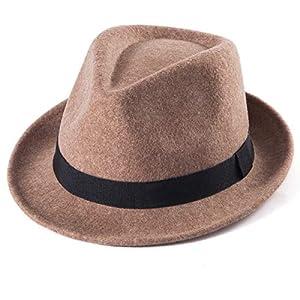 100%ウールソフト帽メンズフェドラハットメンズトリルビーハットストローサンハットパナマハット