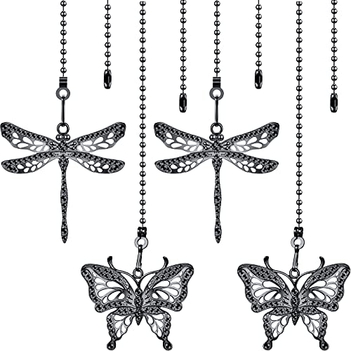 4 Pieces Ceiling Fan Chains Fan Pulls Chain Fan Extender 12 Inch Ceiling Fan Chain Extension Chain Extender Ornament with Butterfly and Dragonfly Chain Connector (Black)