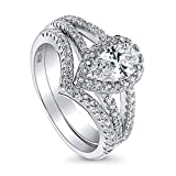 BERRICLE Rhodium Plated Sterling Silver Halo Engagement Wedding Split Shank Ring Set Made with Swarovski Zirconia Pear Cut 1.36 CTW Size 7