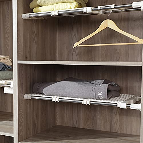 Woyada - Scaffale telescopico regolabile per armadio, divisore fai da te per cucina, bagno, camera da letto