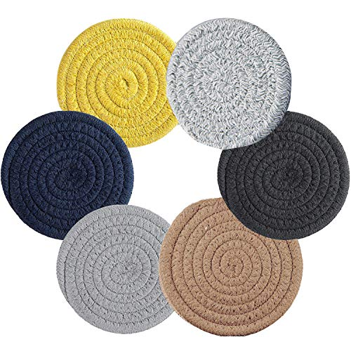 6 Pieces Braided Cup Coasters Cotton Round Woven Coasters for Drinks,Heat-Resistant...