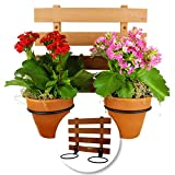 Rustic Craftsman Hanging Planter – Two 4 in. Wide Flower Pot Rings Mounted on 12' X 10' Cedar Trellis. Great for Indoor Plants, Herb Garden, Wall Planter, Hanging Planters and Hanging Planters Indoors