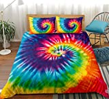 Rainbow Tie Dye Bedding Tie Dyed Duvet Cover Set Orange Blue Psychedelic Swirl Pattern Printed Boho Hippie Boys Bedding Sets Queen (90x90) 1 Duvet Cover 2 Pillowcases (Queen, Colorful)