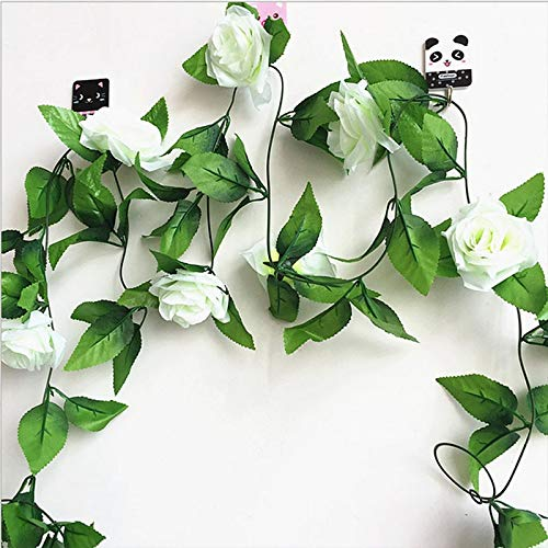 Mistari 250CM/lot Silk Roses Ivy Vine with Green Leaves for Home Wedding Decoration Fake Leaf DIY Hanging Garland Artificial Flowers- Vines for Room Decor - Artificial Plants-White