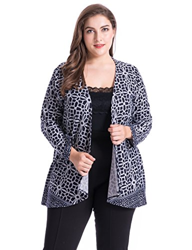 Chicwe Women's Plus Size Cashmere Touch Floral Printed Cardigan Style Jacket - Open Front Casual Jacket 1X