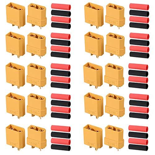 AUTOUTLET 10 Pares XT90 Conectores de Bala Macho Hembra XT-90 Enchufes de Alimentación con Termorretráctil para Batería RC Lipo