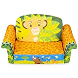 Marshmallow Furniture 2-in-1 Flip Open Couch Bed Sleeper Sofa Kid's Furniture for Ages 18 Months and Up, Lion King