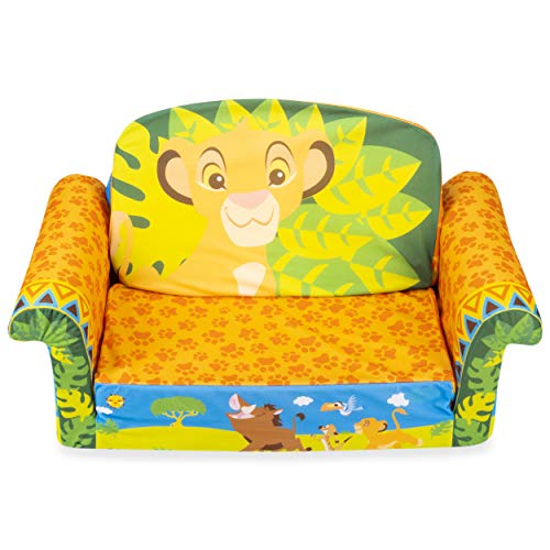 Marshmallow Furniture 2-in-1 Flip Open Couch Bed Sleeper Sofa Kid's Furniture for Ages 2 Years Old and Up, The Lion King