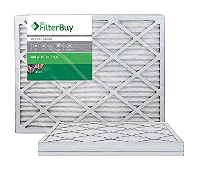 FilterBuy AFB Silver 20x25x1 MERV 8 Pleated HVAC AC Furnace Air Filter, 4-Pack