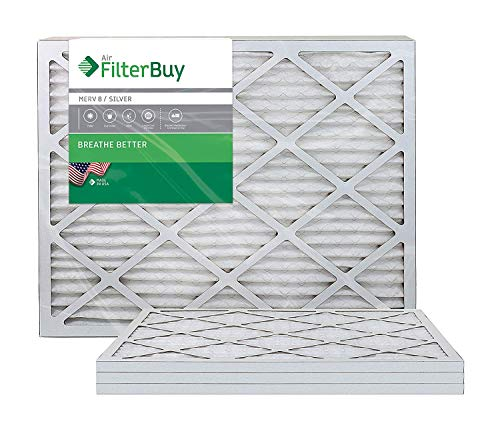 FilterBuy AFB Silver 20x25x1 MERV 8 Pleated HVAC AC Furnace Air Filter, 4-Pack
