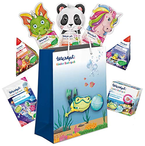 tetesept Kinder Badespaß Geschenkset, Pflegende Schaumbäder, Badeperlen, Badesalz-/überraschung, 1 x 7 Stück tetesept Badezusatz-Produkte