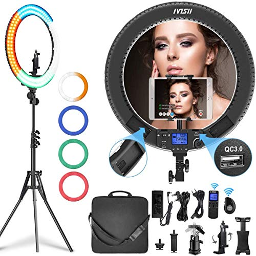 IVISII 19 inch Ring Light with Remote Controller and Stand ipad Holder,60W Bi-Color with 4 Color Soft Filters for Live Stream/Makeup/YouTube Video/TikTok/Zoom/Photography