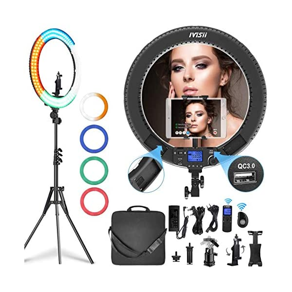 IVISII 19 inch Ring Light with Remote Controller and Stand ipad Holder,60W Bi-Color with 4 Color Soft Filters for Live…