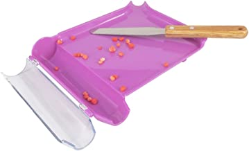 Right Hand Pill Counting Tray with Spatula (Purple, Stainless Steel Blade + Wood Handle)