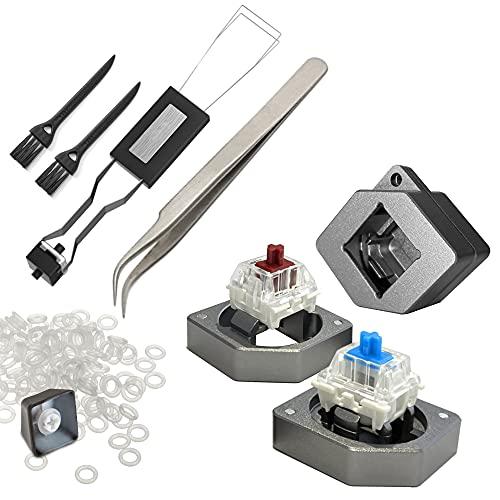 Zalig 6in1 DIY Lube Kit for Mechanical Keyboards | Metal 2in1 Switch Opener, Switch Puller, Keycap Puller, O Rings, Tweezers, Keyboard Brush | Cherry MX, Kailh, Gateron, Durock, Zeal, Panda (2)