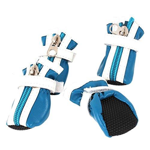 Sourcingmap Haak Loop Sluiting Huisdier Schoenen Laarzen, 2X-Small, Blauw/Wit, Paar van 2
