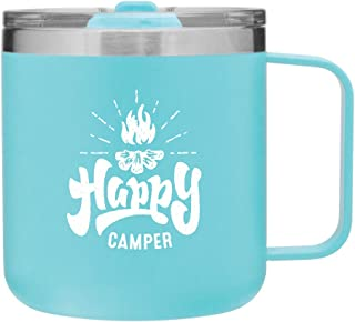 12 oz Happy Camper Vacuum Insulated Travel Mug with Lid by MugHeads - Double wall insulation keeps coffee hot up to 8 hours (Matte Mint)