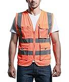 SFVest - Chaleco de Seguridad de Malla Transpirable con Multi Bolsillos de Cremallera para Hombre Ciclismo Moto Deportes - Naranja - M