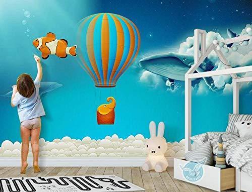 Fotobehang creatieve hemel hete lucht ballon dier kinderen kamer achtergrond muur-3D Wallpaper_400 * 280cm
