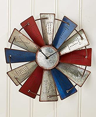 Lakeside Collections Metal Windmill Wall Clock