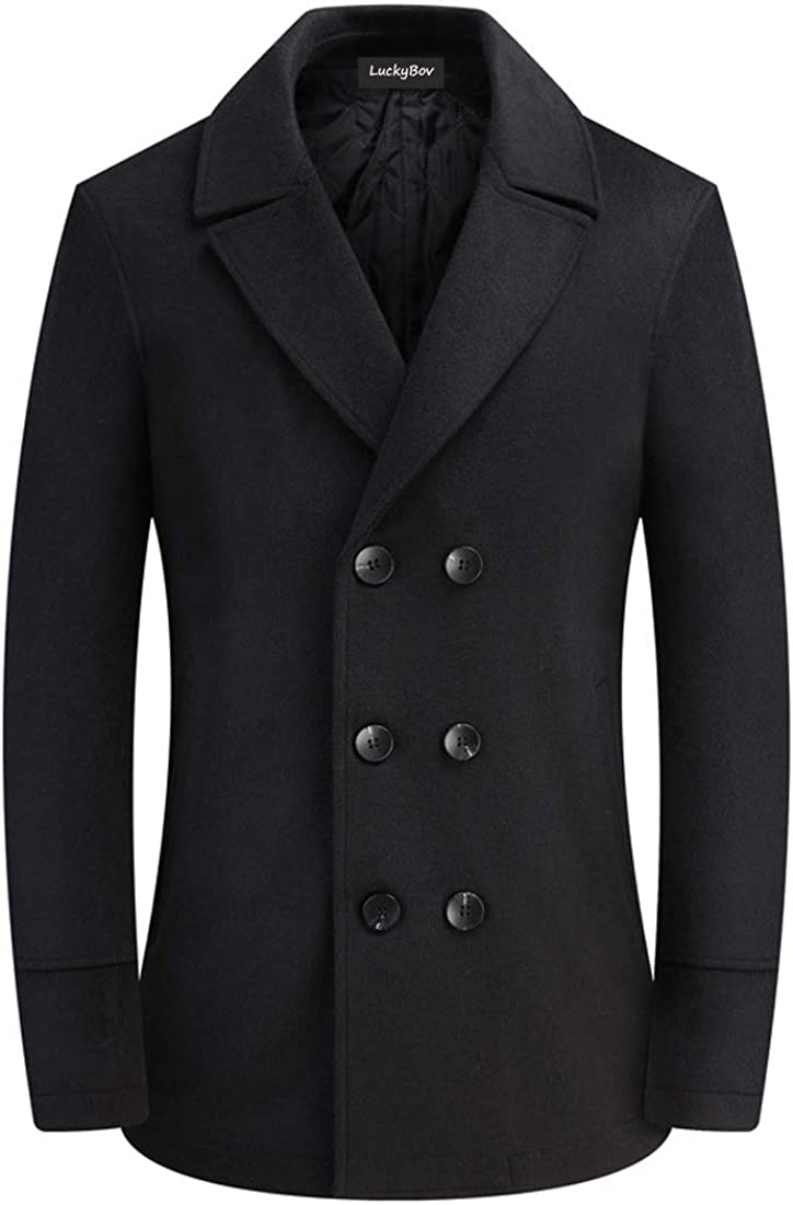 LuckyBov Men Wool Blend Double Breasted Pea Coat Notched Collar Classic Fit Jacket