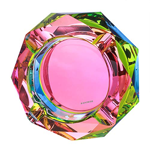 Kaforise Crystal Outdoors Indoors Cigarette Ashtray Ash Holder Case, Colorful Pattern Home Office Tabletop Beautiful Decoration Craft (Bling Bling 02)