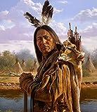 WMYZSHDWZ Indian Hunter Indianer Malen nach Zahlen Erwachsene für Kinder DIY Handgemalt ölgemälde Home Haus Deko Geschenk auf Heimdekoration Vorgedruckt Leinwand Anfänger Acrylfarben ohne Rahmen