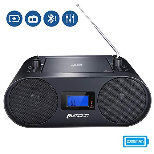 PUMPKIN tragbares Radio Mit CD Player Boombox mit Eingebaute 2000 mAh Wiederaufladbare Lithium Akku Unterstützt Bluetooth USB FM AUX-In