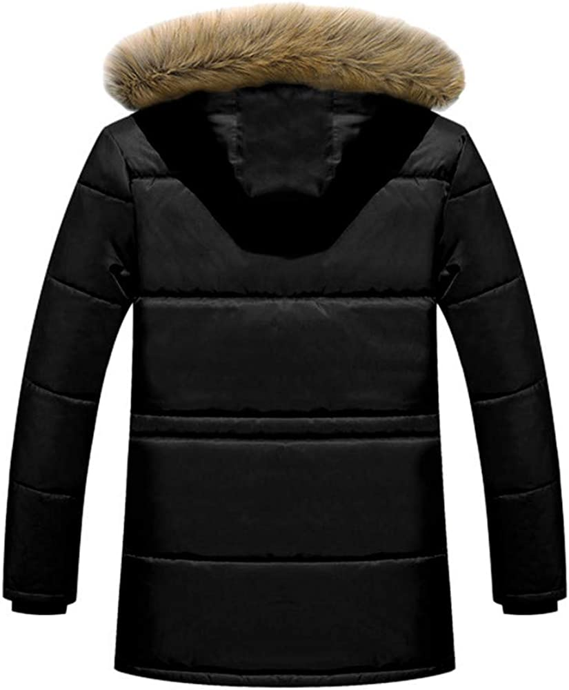 Teresamoon Men Winter Warm Hooded Zipped Thick Solid Fleece Coat Cotton-padded jacket (Most Wished & Gift Ideas)