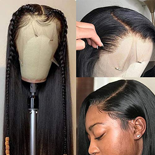 Wingirl 150% Straight Lace Front Human Hair Wigs 13x 4Inch Lace Frontal Wig Pre Plucked with Baby Hair Remy Wig For Black Woman Natural Color (16inch, Natural Color)