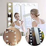 Makeup Vanity Mirror LED Lights Kit, 10 Dimmable Light Bulbs with Touch Switch, Lighting Fixture Strip for Makeup Dressing Table Set in Dressing Room (Mirror Not Included)