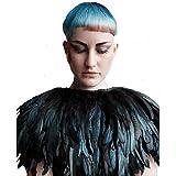 1pc piume di mantello nero - verde Colore: nero - verde Material:real feather,satin Cape width:about12.5inch(32cm), neck size:19.6inch(50cm) 100% nuove di zecca