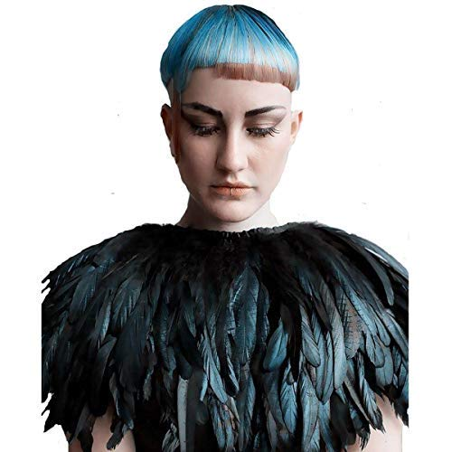TOOKY Black Green Feather Hecho Mano Collar Cape Shawls
