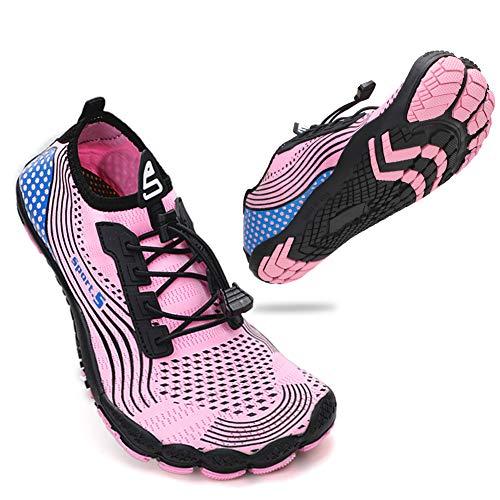 ZHR Damen Wasserschuhe Badeschuhe Schwimmschuhe Schnell Trocknend Atmungsaktiv Licht Outdoor Surfschuhe Anti-Kollisions Aquaschuhe Pink EU42