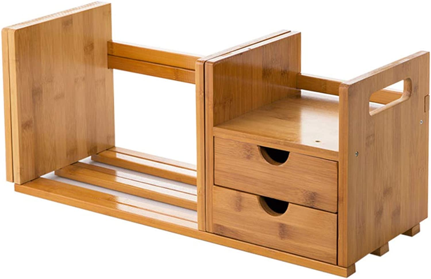 Natural Bamboo Desk Organiser Bookshelf with 2 Drawers Expandable and Adjustable,Suitable for Home Office School, Etc.