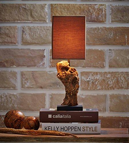 Designlampe en bois flotté-idéal comme lampe de chevet