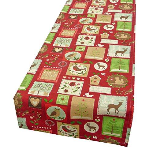 Schöner vida camino de mesa Navidad Patchwork Animales Rojo 40x 160cm