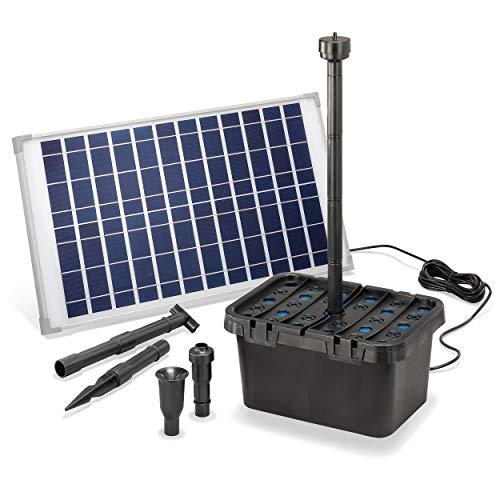 esotec 100902 - Filtro solare per laghetti da giardino professionale, portata 1250 l/h + modulo solare da 25 W, set completo per laghetti da giardino fino a 4.000 l