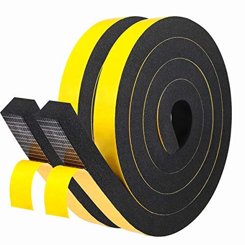 Schaumstoff Selbstklebend 25mm(B) x20mm(D) Dichtungsband für Garage-Anti-Kollision Türdichtung Gummidichtung für Industrie Schalldämmung Siegel Gesamtlänge 4M (2 Rollen je 2m lang) Schwarz